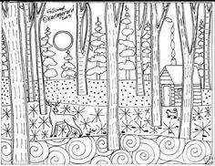 Rug Hook Paper Pattern Follower Folk Art Deer Cat Cabin Winter Woods Karla G | eBay