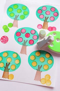 woodland hand carved rubber stamps. apple by talktothesun on Etsy