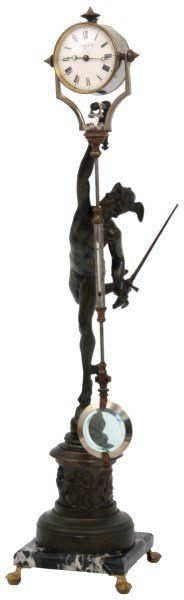 Flying Mercury spelter figure after Giovanni Bologna, depicts Mercury holding . Unusual Clocks, Cool Clocks, Mystery Clock, Clock Shop, Mantle Clock, Antique Clocks, Needful Things, Bologna, Antique Furniture