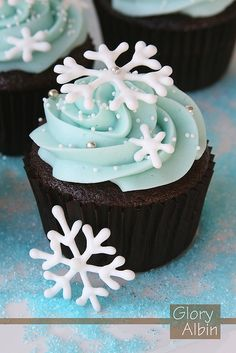 Snowflake cupcakes: chocolate cupcake with vanilla frosting and royal icing snowflakes.  Gotta figure out what/how royal icing is!