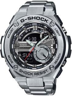 G-Shock Men's Analog-Digital Silver-Tone Resin Bracelet Watch - G-Shock - Jewelry & Watches - Macy's G Shock Watches, Cool Watches, Watches For Men, Men's Watches, Analog Watches, Casio G-shock, Casio Watch, Resin Bracelet, Bracelet Watch