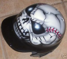 Airbrushed Batting Helmet baseball SKULL  new by tonysairbrush, $64.95