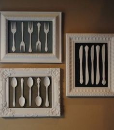 DIY Wall Art Decor | Misc silverware. Mismatched frames. All spray painted a beautiful cream color.