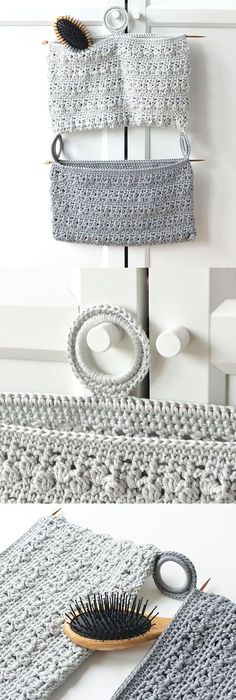 Bathroom Organizer. Quick and easy to make project. Free crochet pattern by Lilla Bjorn Crochet.
