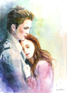 Twilight Edward and Bella  - Watercolor painting. $18.00, via Etsy.