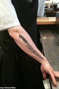 You have (or you've seriously considered) a chef's knife or whisk tattooed on your person. | 29 Signs You've Worked In A Restaurant Kitchen
