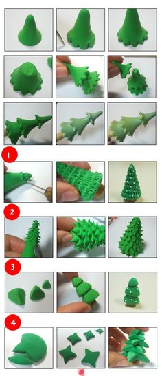 New Ideas For Cake Christmas Fondant Xmas Trees Christmas Cake Decorations, Fondant Decorations, Christmas Cupcakes, Fondant Christmas Cake, Christmas Tree Cake, How To Make Christmas Tree, Miniature Christmas Trees, Fondant Icing, Fondant Toppers