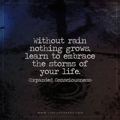 Life Quote: Without rain nothing grows, learn to embrace the storms of your life. – Expanded Consciousness The post Without Rain Nothing Grows appeared first on Live Life Happy. Great Quotes, Quotes To Live By, Me Quotes, Funny Quotes, Inspirational Quotes, Rain Quotes, Random Quotes, The Words, Cool Words