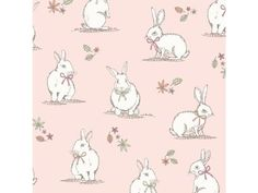 Craft Dressmaking Easter Bunnies Fabric,100/% Cotton Ivory White Bunnies on Grey