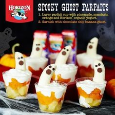 Try these delicious Ghost Parfaits for your kid's spooktacular Halloween! Healthy Halloween Treats, Spooky Treats, Halloween Snacks, Fall Treats, Halloween Ideas, Peanuts Halloween, Organic Yogurt, Spooky Food