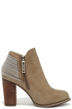 Cool Taupe Boots - Ankle Boots - High Heel Booties - $43.00