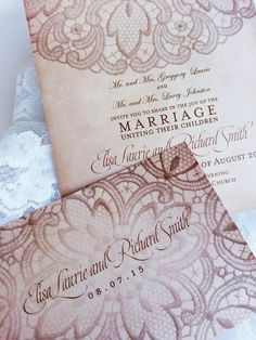 Lace wedding invitations  Fall wedding invitations with lace