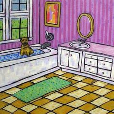 border terrier guitar dog 4x6 glossy animals impressionism  artist gift