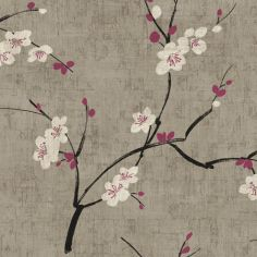 what about a light touch of color with the grey and white ~ plum blossom wallpaper