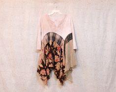 REVIVAL vrouwen Upcycled Boho Shirt, Shabby chique land Boheemse ongewenste Gypsy Style, groot om XLarge, gerecycleerd ecovriendelijke voorzien