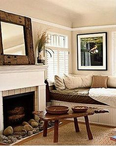 Love this windowseat/daybed, the neutral, earthy colors, and those shutters