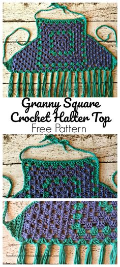 There's so much you can create with a simple granny square! It has to be the most versatile pattern around. This halter top is fun, flirty and I love the beachy colors. Yarn from Hobby Lobby. This is going to sound cheesy… but I Crochet Summer Tops, Crochet Halter Tops, Crochet For Kids, Easy Crochet, Crochet Baby, Granny Square Crochet Pattern, Crochet Granny, Crochet Patterns, Easy Knitting Projects
