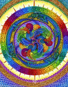 ☮ American Hippie Psychedelic Art Mandala ~