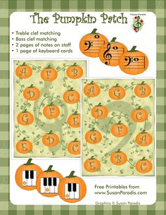Here is a quick fall themed music activity: Pumpkin Patch Games. This is a great, quick matching game that will help students connect the dots Piano Lessons, Music Lessons, Piano Games, Music Games, Piano Music, Fun Games, Sheet Music, Music Lesson Plans, Music Worksheets