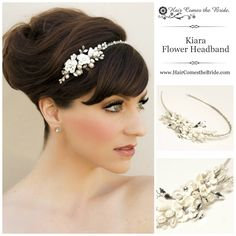 "Ceramic Flower Bridal Side Accent Headband by Hair Comes the Bride - ""I wore this headband on my wedding day. I wore a veil for the ceremony then wore this headband for the reception. It was easy to place in my hair and stayed put while dancing. It went perfectly with my pearl jewelry as well. I received several compliments about this headband. Also, the Hair Comes The Bride staff were very helpful and responded to me quickly."""