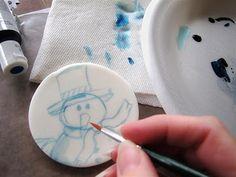 Jenni Price illustration: Painting a Snowman on Fondant