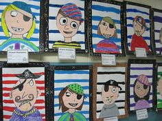 Pirate Portraits by dogboneart, via Flickr- I did a version of these with my class and they look great!: