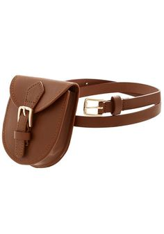 Portable Pouch Belt in Brown - Faux Leather, Brown, Solid, Buckles, Festival, Festival, Better, Variation, Brown