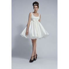 Sleeveless Baby Doll Short Wedding Dress With Full Skirt And Bow Detail At Waist - Star Bridal Apparel