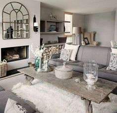 gorgeous grey sitting room....love the rug