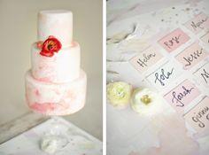 Pink marbled wedding cake