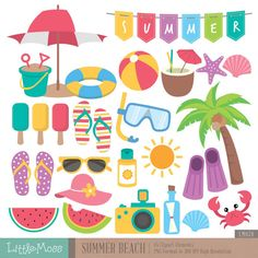 Summer Beach Digital Clipart by LittleMoss on Etsy Beach Clipart, Summer Clipart, Summer Beach, Summer Fun, Summer Bulletin Boards, Alfabeto Animal, Beach Watercolor, Luau Party, Beach Party