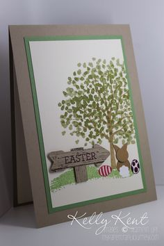 Easter card using Sheltering Tree and For Peeps Sake and Wood grain stamp sets.