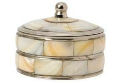 "3"" Mother-of-Pearl Box, Cream"