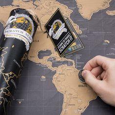 Großartiges Geschenk für Reiselustige: Rubbel-Weltkarte deluxe zum freirubbeln der liebsten Reiseziele