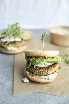 Gluten-Free Zucchini Burgers with White Beans, Avocado and Basil Aioli