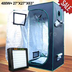 Mars II 400W Led Grow Light + 27 x27 x63  Indoor Grow Tent for Hydroponics Plant & Mars 5u0027x5u0027x7u0027 Indoor Grow Tent Room Reflective Mylar Hydro Hut ...
