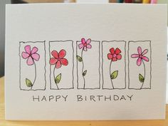 Watercolor Art Lessons, Watercolor Cards, Homemade Birthday Cards, Homemade Cards, Birthday Greeting Cards, Greeting Cards Handmade, Birthday Card Drawing, Hand Drawn Cards, Envelope Art