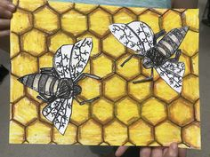 Elements of the Art Room: Beautiful grade Beehives! 3rd Grade Art Lesson, Third Grade Art, Grade 3 Art, Spring Art Projects, Bug Art, Easter Art, Insect Art, Art Lessons Elementary, Elements Of Art