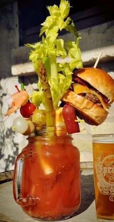 Fully-Loaded, Cheeseburger-Bloody Mary (the ultimate hangover cure, from Sobelman's Pub & Grill in Milwaukee, Wis.) now that is a Bloody Mary! Yummy Drinks, Yummy Food, Brunch Drinks, Bloody Mary Bar, Bloody Mary Recipes, Cuisine Diverse, All I Ever Wanted, In Vino Veritas, So Little Time