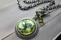 Art Glass Pendant Necklace Shimmering Peridot Lime by veryDonna
