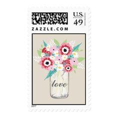 Mason Jar and Flowers | Love Postage