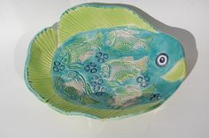 Unique Serving Bowl  Colourful Fish Shaped Bowl  by REDceramics, £16.00