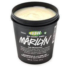Lush Marilyn Hair Moisturizer- strengthens, replenishes moisture, AND gradually lightens platinum hair to keep the brassy hues away. $21.95
