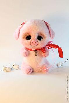 Купить Игрушка из шерсти Свинка Шурочка - розовый, игрушка, игрушка ручной…