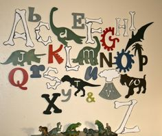 $125.00 Wooden Alphabet Set, Dinosaur Letters, Wood Letters, UNFINISHED, Nursery Decor, ABC Wall