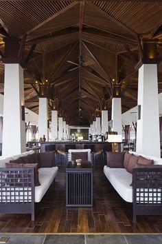 Amiana Resort / thit k: Hng Hng - Lib. Bamboo Architecture, Interior Architecture, Interior Design, Modern Tropical House, Resort Interior, Bali House, Lobby Interior, Bamboo Design, Lobby Design