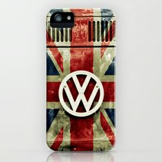 VW Retro Union Jack iPhone & iPod Case by Alice Gosling - $35.00 Available as Galaxy S4, iPhone 5, 5S, 5C, 4S, 4, 3GS, 3G, & the iPod Touch #iphone #phonecase #Samsung #VW #Volkswagen #Campervan #VWBus #Flag #UnionJack