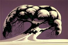 Eyvind Earle (April 1916 – July was an American artist, author and illustrator, noted for his contribution to the background illustration and. Eyvind Earle, Tree Art, Painting, Illustration Art, Landscape Illustration, Art, Snow Tree, Landscape Art, American Artists