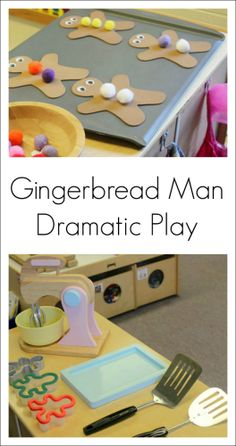 Dramatic Play Gingerbread Man Activity for Preschool Easy and fun Gingerbread Man activity for kids – great way to incorporate literacy into the dress up center Dramatic Play Themes, Dramatic Play Area, Dramatic Play Centers, Preschool Dramatic Play, Preschool Christmas, Noel Christmas, Preschool Winter, Italian Christmas, Gingerbread Man Activities