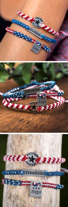 Thanks to the courage of our men and women in uniform and our enduring hope, America will always be the land of the free. Our bracelets weaves the colors of the flag together in an affirmation of your own pride in the courage, hope, and freedom that make our country great.